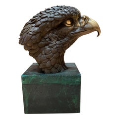 Bronze Eagle Head Sculpture, 20th Century
