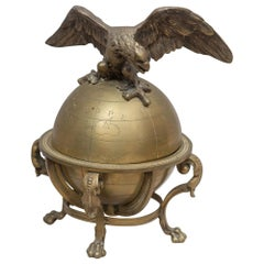 Bronze Eagle on Top of a Globe, Inkwell, French, circa 1900