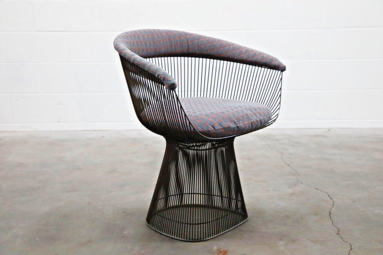 Bronze Early Production Warren Platner for Knoll International Armchairs, Signed For Sale 4