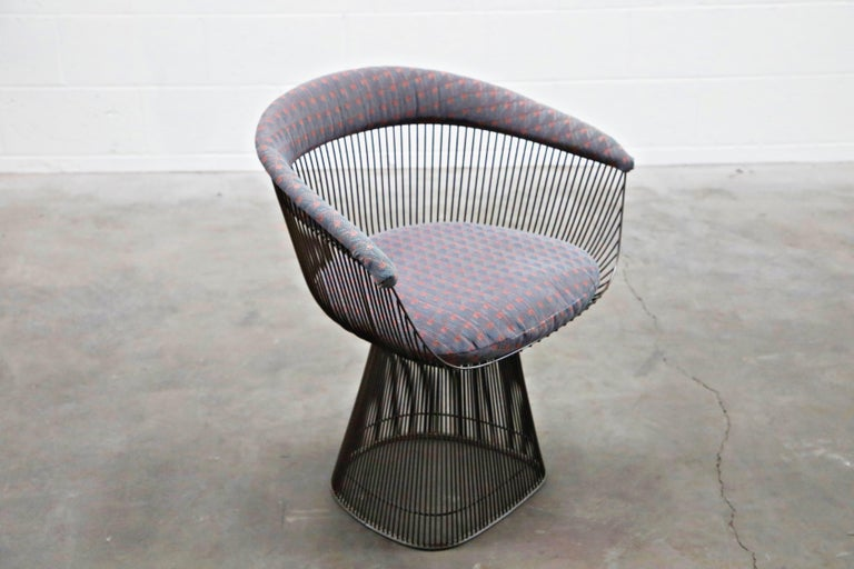 Bronze Early Production Warren Platner for Knoll International Armchairs, Signed For Sale 5