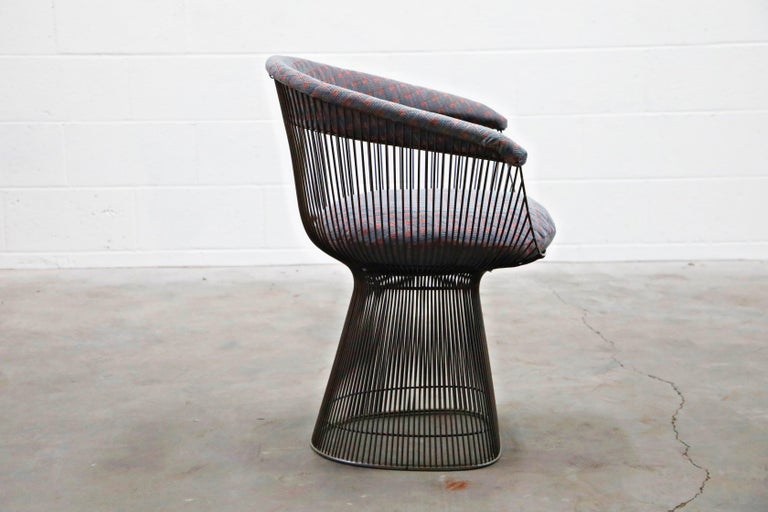 Bronze Early Production Warren Platner for Knoll International Armchairs, Signed For Sale 6