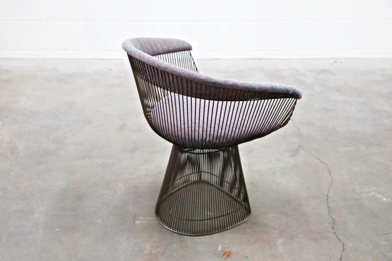 Bronze Early Production Warren Platner for Knoll International Armchairs, Signed For Sale 7