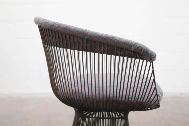 Bronze Early Production Warren Platner for Knoll International Armchairs, Signed For Sale 12