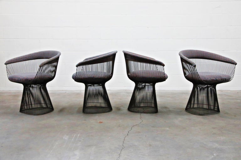 Mid-Century Modern Bronze Early Production Warren Platner for Knoll International Armchairs, Signed For Sale