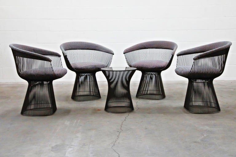 American Bronze Early Production Warren Platner for Knoll International Armchairs, Signed For Sale