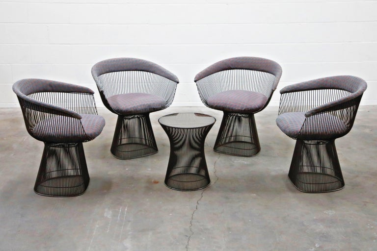 Bronze Early Production Warren Platner for Knoll International Armchairs, Signed In Good Condition For Sale In Los Angeles, CA
