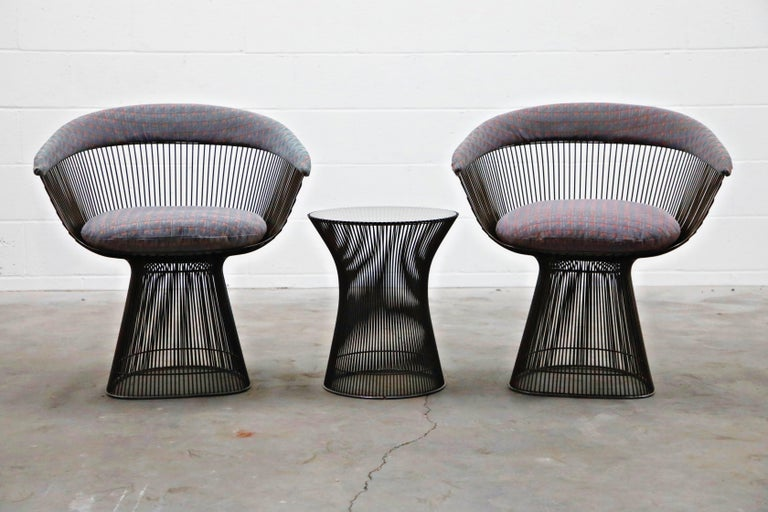 Mid-20th Century Bronze Early Production Warren Platner for Knoll International Armchairs, Signed For Sale