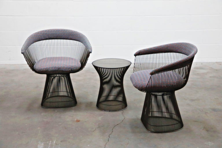 Bronze Early Production Warren Platner for Knoll International Armchairs, Signed For Sale 1