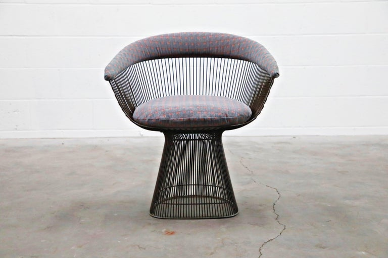 Bronze Early Production Warren Platner for Knoll International Armchairs, Signed For Sale 3