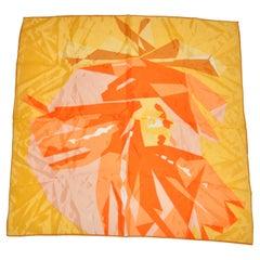 Bronze Edges with Multi Tangerines, Bronze & Yellow Silk Scarf.