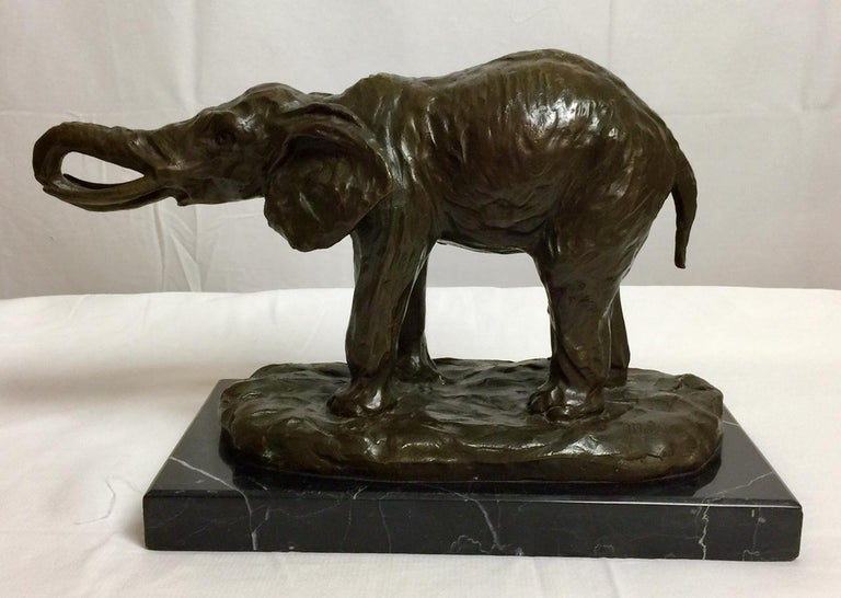 Bronze Elephant on Marble Base, Signed by Milo For Sale 3