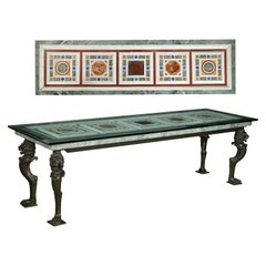 Bronze Elongated Table with Specimen Marble Top