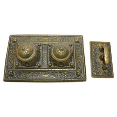 Bronze English Inkwell Set with Rocking Blotter
