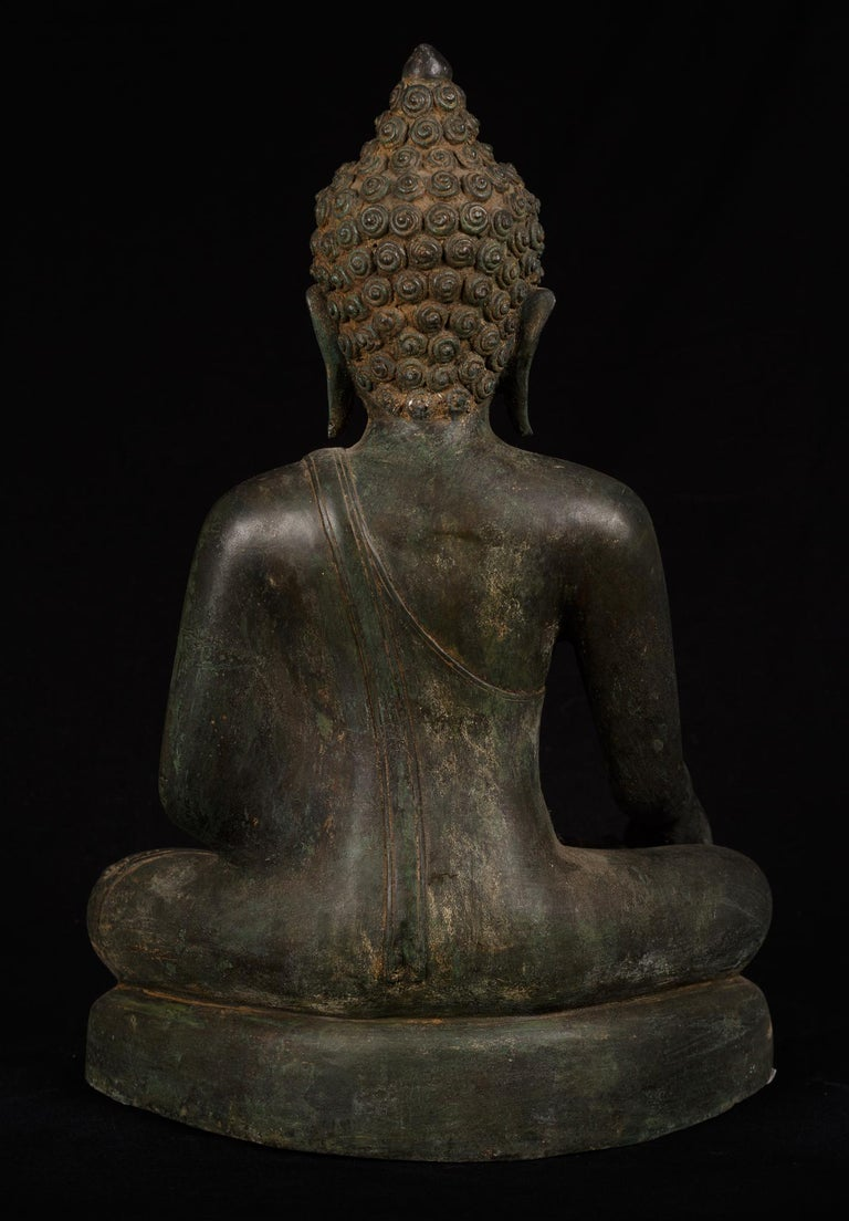 Bronze Enlightenment Buddha Shakyamuni Serene Down Cast Eyes 18th Century For Sale 7
