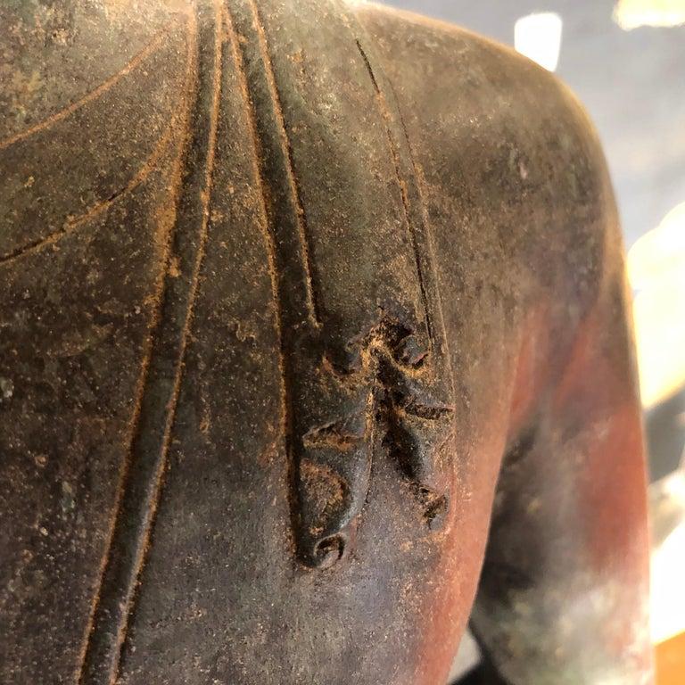 Bronze Enlightenment Buddha Shakyamuni Serene Down Cast Eyes 18th Century For Sale 8