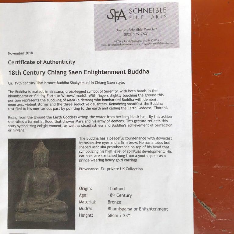 Bronze Enlightenment Buddha Shakyamuni Serene Down Cast Eyes 18th Century For Sale 12