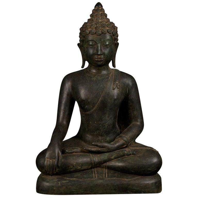 Bronze Enlightenment Buddha Shakyamuni Serene Down Cast Eyes 18th Century For Sale