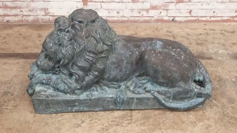 20th Century Bronze Entraceway Lions For Sale