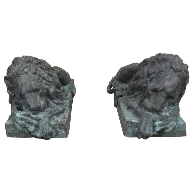 Bronze Entraceway Lions For Sale