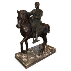 Bronze Equestrian Sculpter with Caesar on Marble Base, Early 20th Century