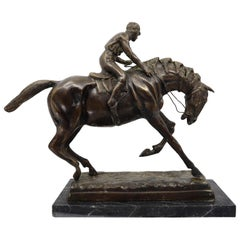 Bronze Equestrian Statue of a Jockey on His Horse, 19th Century