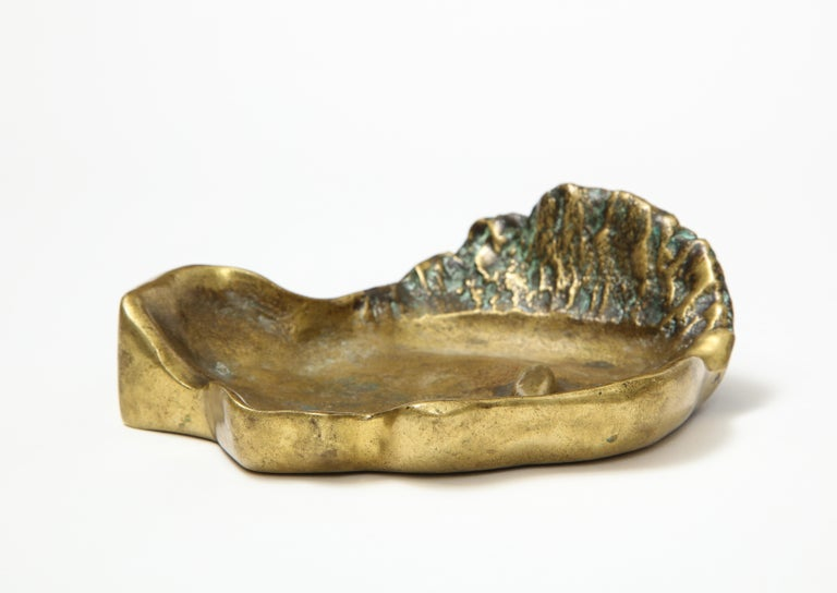 20th Century Bronze Face Dish, France, circa 1960s For Sale