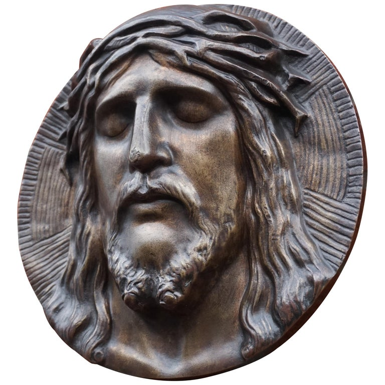 Bronze Face of Christ Wall Plaque Sculpture with The Best Ever Closed Eyes For Sale