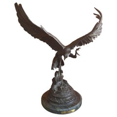 "Bronze ""Falcon"" Sculpture on Marble Base by Jules Moigniez"