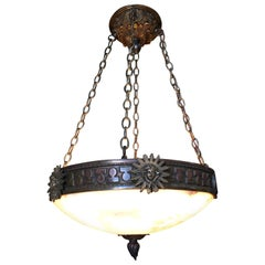 "Bronze Federal Style ""Liberty"" Alabaster Dome Chandelier"