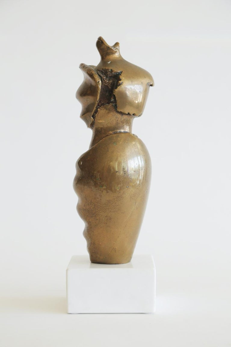 Modern Bronze Female Draped Sculpture on White Marble Base Vintage For Sale