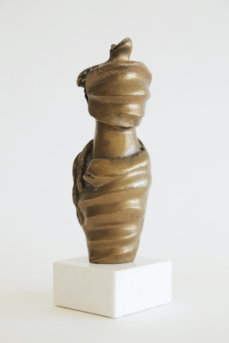 Bronze Female Draped Sculpture on White Marble Base Vintage In Good Condition For Sale In North Miami, FL