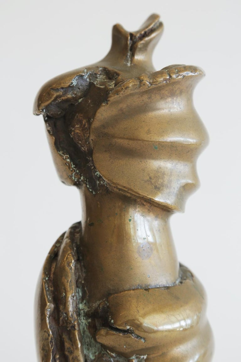 Late 20th Century Bronze Female Draped Sculpture on White Marble Base Vintage For Sale