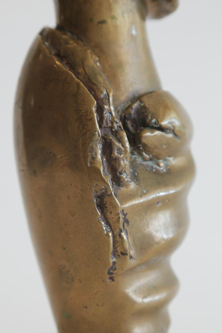 Bronze Female Draped Sculpture on White Marble Base Vintage For Sale 1