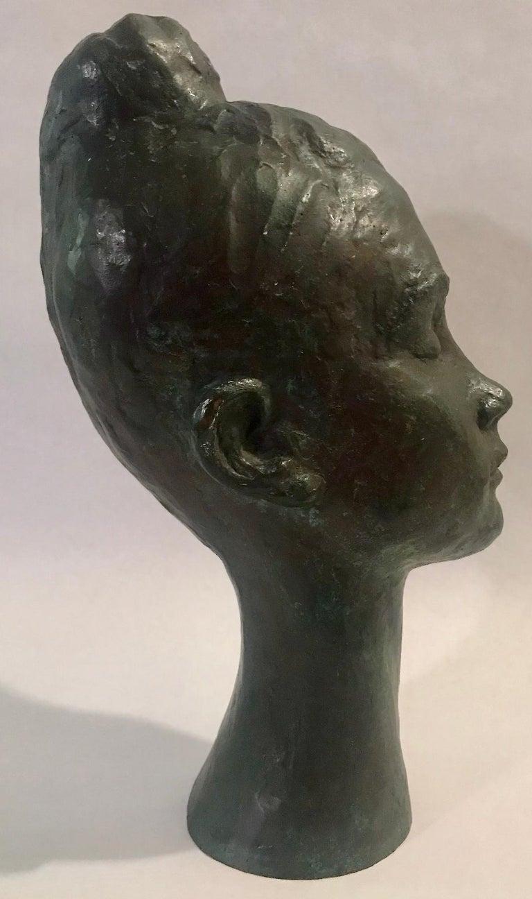 Bronze Female Portrait Head Bust Sculpture For Sale 7
