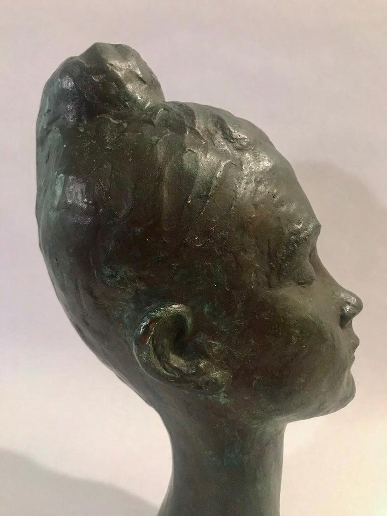 Bronze Female Portrait Head Bust Sculpture For Sale 8