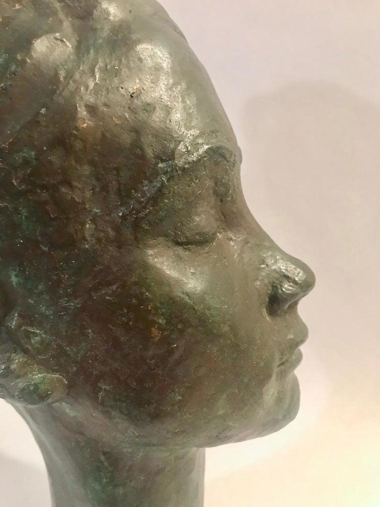 Bronze Female Portrait Head Bust Sculpture For Sale 9