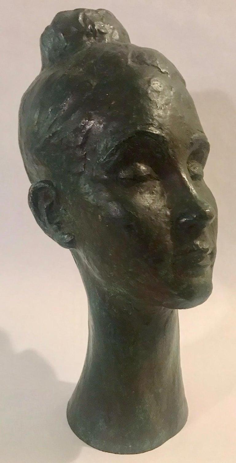 Bronze Female Portrait Head Bust Sculpture For Sale 10