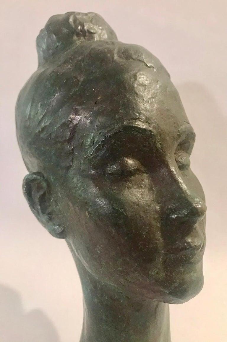 Bronze Female Portrait Head Bust Sculpture For Sale 11