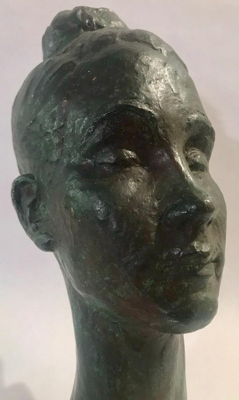 Bronze female portrait head sculpture, USA, 1960s.