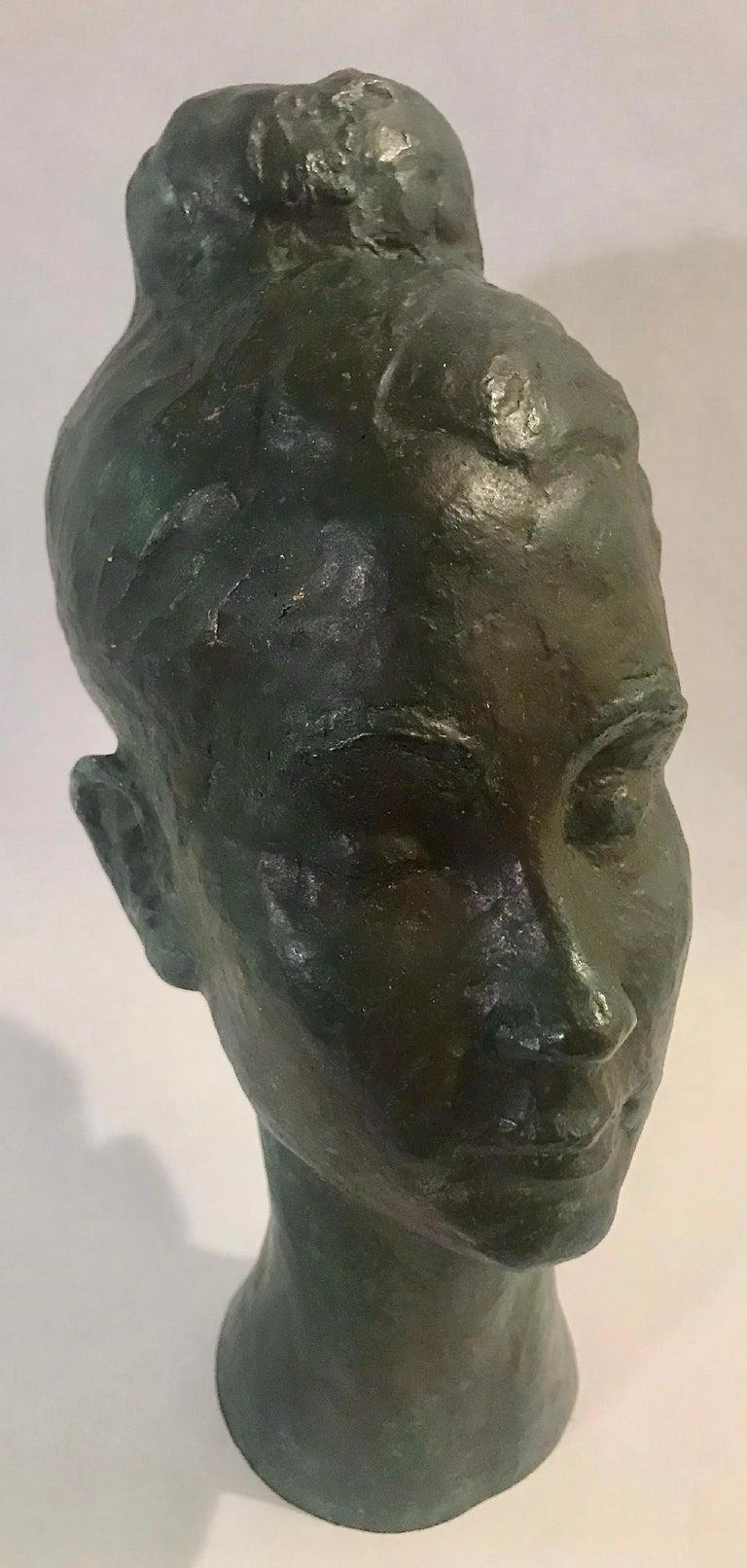 American Bronze Female Portrait Head Bust Sculpture For Sale