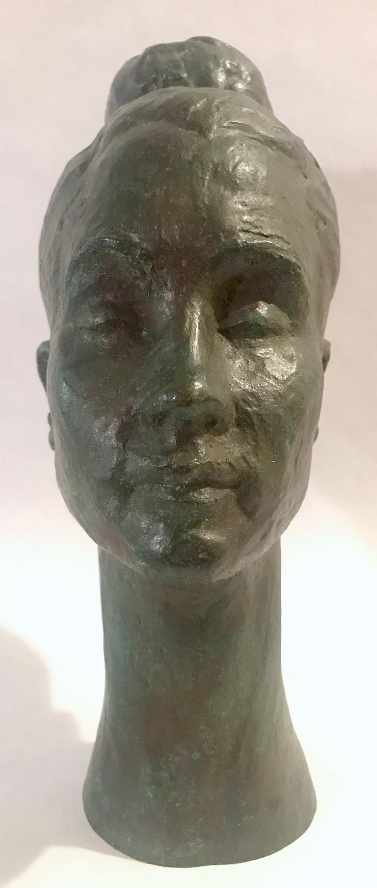 Bronze Female Portrait Head Bust Sculpture In Good Condition For Sale In Lake Success, NY