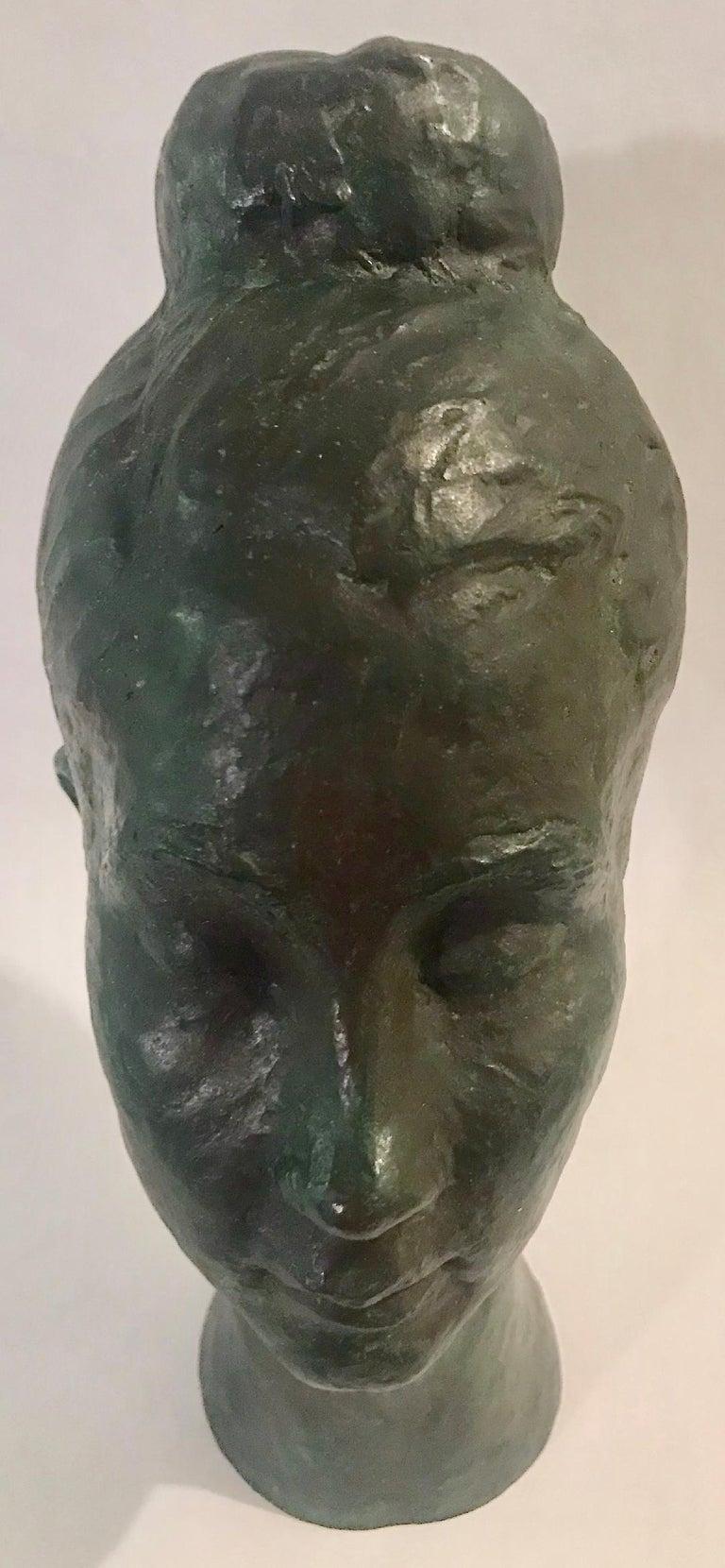 Mid-20th Century Bronze Female Portrait Head Bust Sculpture For Sale