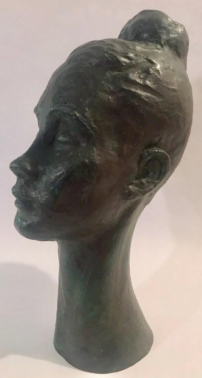 Bronze Female Portrait Head Bust Sculpture For Sale 1