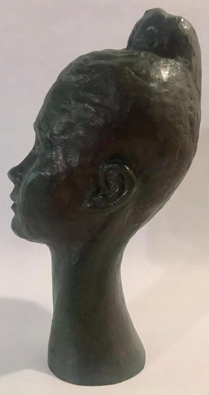 Bronze Female Portrait Head Bust Sculpture For Sale 2