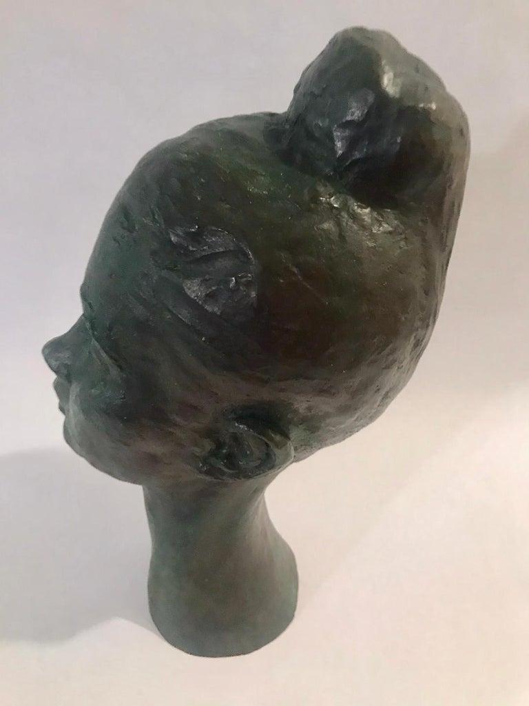 Bronze Female Portrait Head Bust Sculpture For Sale 3