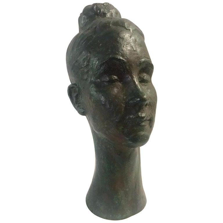 Bronze Female Portrait Head Bust Sculpture For Sale
