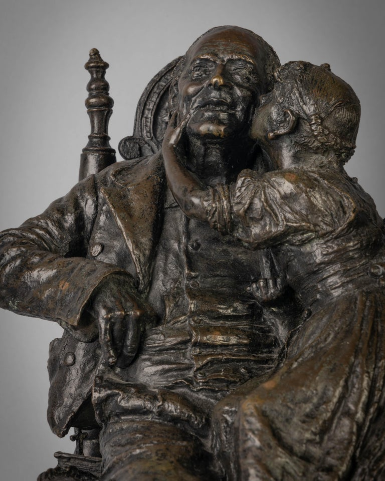 Bronze Figural Group of a Grandfather and a Girl Titled Onomastico In Good Condition For Sale In New York, NY