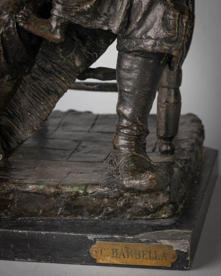 19th Century Bronze Figural Group of a Grandfather and a Girl Titled Onomastico For Sale
