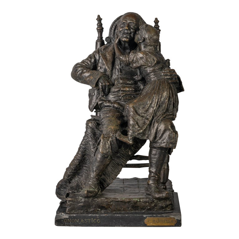 Bronze Figural Group of a Grandfather and a Girl Titled Onomastico For Sale