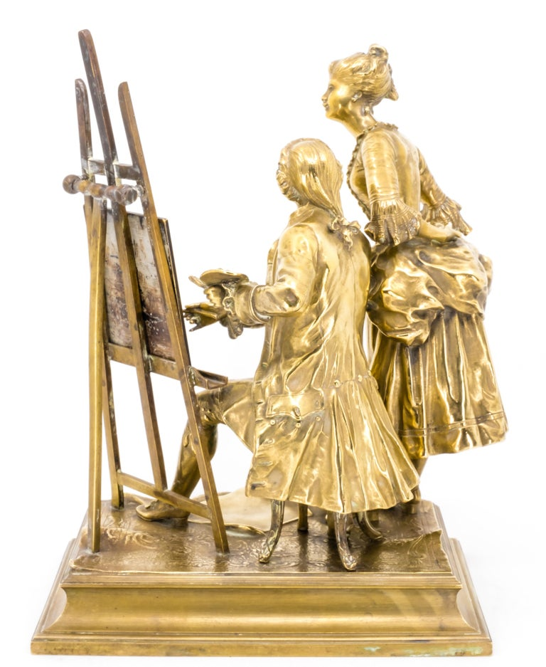 Classical Roman Bronze Figure Group of a Painter with a Muse, Late 19th Century For Sale